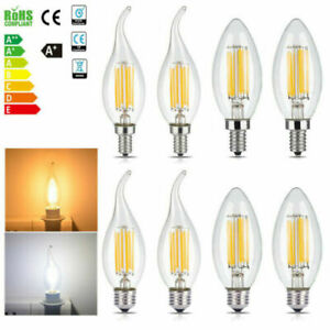 E14 2W 4W 6W Dimmable LED Candle Filament Light Bulbs Lamps Edison SES UK New