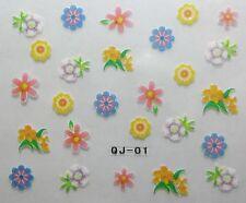 Accessoire ongles : nail art - Stickers autocollants, fleurs multicolores