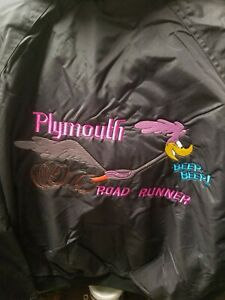 Heavy duty PLYMOUTH roadrunner  Black Nylon  embroidered Jacket   Adult  L