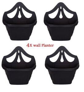 4 X 31cm BLACK VENETIAN WALL HANGING PLANTER FLOWER POT PLASTIC GARDEN OUTDOOR