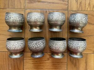 Vintage Indian Hand Etched And Painted Brass Cups - Set of 8
