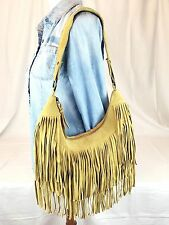 HOBO Genuine Suede Leather Fringe Shoulder Bag in Golden Wheat Yellow Medium Sz