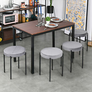HOMCOM Backless Stackable Dining Stools Fabric Upholstered Round Chair Set of 4
