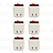 6x Single Outlet Wall Tap Adapter W Lighted Switch Power On/Off Control (WHITE)