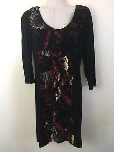 Vivienne Tam Petite Black Dress w/ Red Gray White Ruched Panel 3/4 sleeve Sz PM