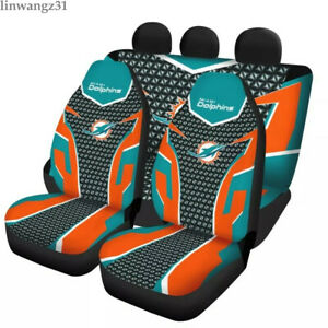 Miami Dolphins 5 Seater Car Seat Covers Universal Front Rear Cushion Protectors