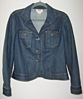 Talbots Classic Blue Stretch Denim Jean Jacket Women's 12 Petite Rounded Hem