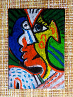 ACEO original pastel painting outsider folk art brut #010378 abstract surreal