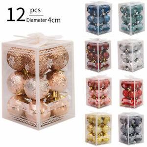 12 X Christmas Tree Balls Xmas Home Decor Glitter Baubles Party Wedding Ornament