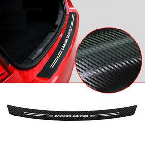 Black 4D Carbon Fiber Rear Trunk Bumper Guard Strip Accessories Moulding Trim