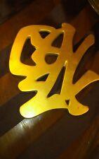 "Vintage Brass Wall Hanging Decor Kitchen Trivet Chinese Asian Symbol 7-1/2"""