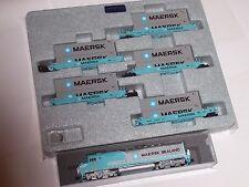 KATO N Scale 1769241 + 1066191 Maersk Set Loco & 5 Cars  SDP40F , Gunderson Cars