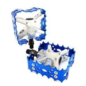 """Wellgo BMX MTB Bear Trap III Old school Bike Pedal 9/16"""", 1/2"""" Blue Gold Silver"""