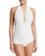 Norma Kamali White Bill Ruched Halter Maillot Swimsuit Size M $350