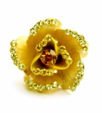 Enamel flower brooch pin sparkles with crystals - Yellow
