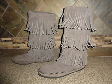 Womens Sz 9 MINNETONKA MOCCASINS Gray Leather Fringes Boots Shoes
