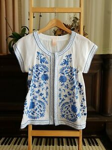 Lovely COLLETTE Boho White Floral Embroidered Blouse Shirt Sz XS EUC