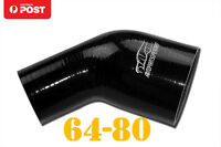 """4PLY Silicone 45 Degree Reducer Elbow Joiner Hose 64mm - 80mm 2.5"""" 3.15"""" Black"""