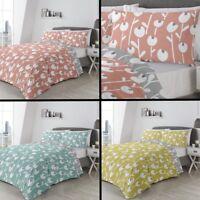 Alabar Floral Duvet Quilt Bedding Cover Set - Coral Pink, Blue, Yellow & Grey