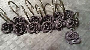 Croscill Chambord Purple Rose Shower Curtain Hooks 12Pcs Metal and ceramic