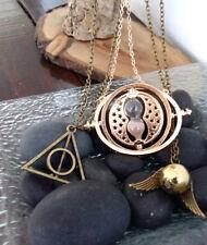 Lote Collares Giratiempos triángulo Floray bronce y Snitch alado de Harry Potter