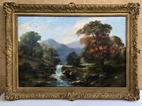 Large Hudson River School Painting Signed 24x36