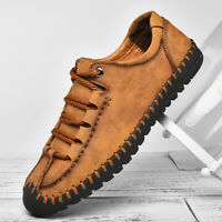 Menico Men's Leather Shoes Lace up Oxfords Hand Stitching Moccasins Casual Shoes