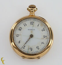14k Yellow Gold Elgin Open Face Pocket Watch 15 Jewel Size 0S Monogrammed Case
