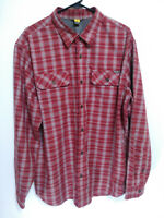 Eddie Bauer Mens Size XL Red Plaid Polyester Flannel Long Sleeve Button Up Shirt