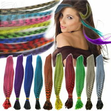 Bunte Haarsträhnen 20x Grizzly Feather Hair Extensions Feder Strähnen Microringe
