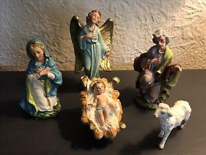 Vtg 5 pc Nativity ITALY Hand Painted Holy Family JESUS MARY JOSEPH Paper Mache