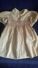 Vintage Baby Dress Yellow Smocked Handmade Cotton Detailed