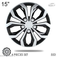 """New 14"""" Hubcaps Spyder Performance Black and Silver Wheel Covers For Hyundai 553"""