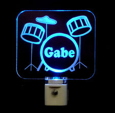 Kids Personalized Drum Set LED Night Light, Drums, Musical Insturment - Lamp