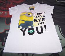 Despicable Me Ladies Minion Eye For You White Printed T Shirt Size XXXS New