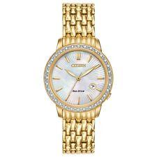 CITIZEN EW2282-52D Eco-Drive Ladies Solar Diamond Gold Watch Luxury RRP $850.00