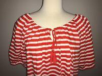 J. Crew Red and White Striped Shirt, Size Medium