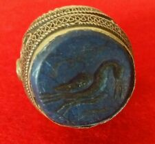 Antique Afghan Hand Carved Alpaca Silver Lapis Lazuli Tribal Ring 11.75US