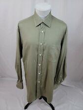 BORRELLI NAPOLI Green Dress Shirt Mens 17.5 x 36