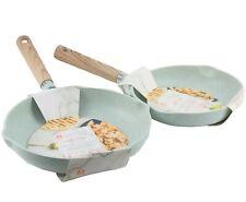 "Masterclass Premium Cookware 8"" 9.5"" Skillets Non Stick Frying Pans Mint Green"