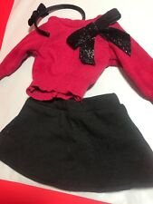 American Girl Sparkle Bow Holiday Sweater Holiday and Headband NEW