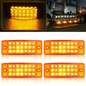 "4x Amber 6"" 21-LED Side Marker Clearance Turn Light Rectangle Semi Truck Trailer"