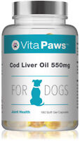 Cod liver Oil 550mg For Dogs By VitaPaws™ 180 Soft Gel Capsules Omega Fatty Acid