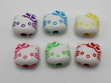 100 White with Mixed Color Acrylic Cute Cat Head Spacer Beads 10mm Craft DIY