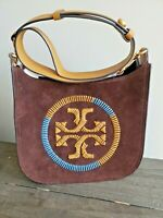 Tory Burch Ella Whipstitch Logo Leather Crossbody Bag JWN418739 Iron (Brown) NEW