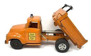 Vintage Tonka State Hi-Way Dept. Hydraulic Dump Orange Toy Truck