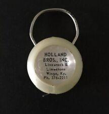Vintage Keychain Tape Measure Ring Fob HOLLAND BROS Livestock Limestone WINGO KY