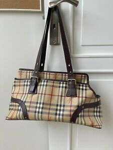Burberry checked leather dog tote bag