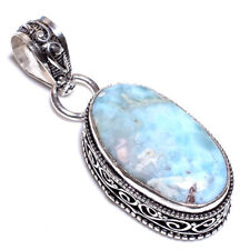 Caribbean Larimar .925 Silver Plated Hand Carving Pendant Jewelry L27