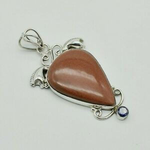 """Solid 925 Sterling Silver Goldstone,Amethyst Big Pendant Jewelry S 2 1/2"""" TR-191"""